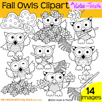 Fall Line Art Fall Owls Line Art Leaves Leaf Pile Raking L