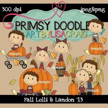 Fall Lolli and Landon 300 dpi Clipart