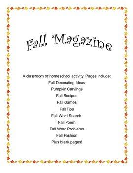 Fall Magazine: A classroom or homeschool activity