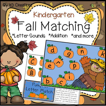 Fall Matching Activities for Kindergarten * Letters * Init