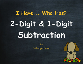 Fall Math: 2-Digit and 1-Digit Subtraction - I Have, Who Has