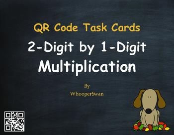 Fall Math: 2-Digit by 1-Digit Multiplication QR Code Task Cards
