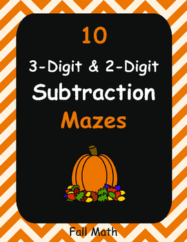 Fall Math: 3-Digit and 2-Digit Subtraction Maze