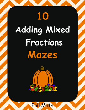 Fall Math: Adding Mixed Fractions Maze
