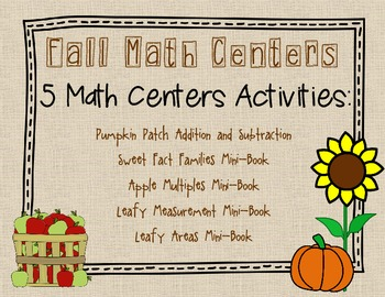 Fall Math Center Activities for 3rd Grade with Common Core