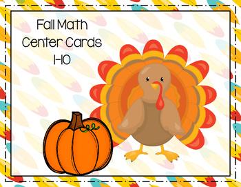 Fall Math Center Cards