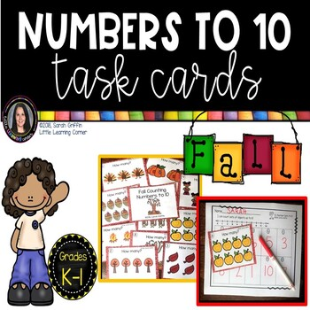 Fall Math Center ~ Task Cards ~ Numbers to 10