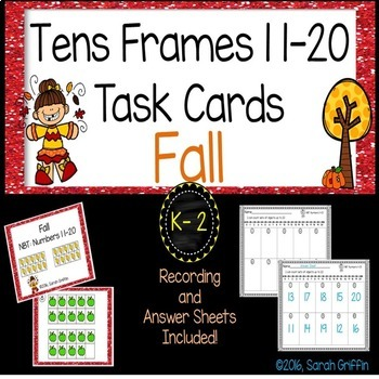 Fall Math Center ~ Task Cards ~ Tens Frames Numbers to 20