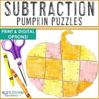 Fall Math Centers: Subtraction Pumpkin Puzzles