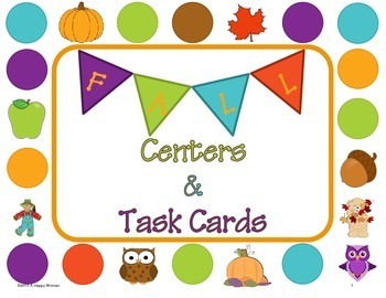 Fall Math Centers and Task Cards - First Grade