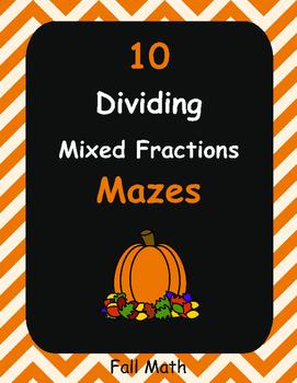 Fall Math: Dividing Mixed Fractions Maze