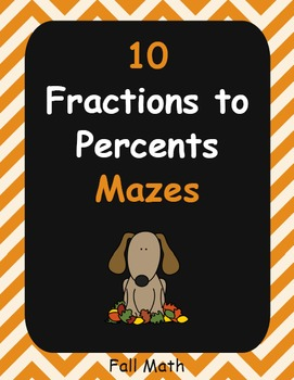 Fall Math: Fractions to Percents Maze