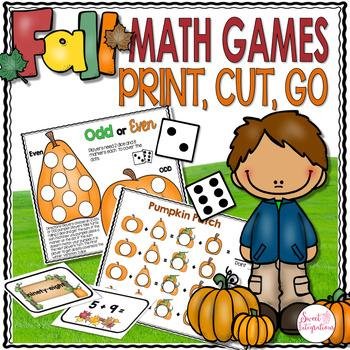 FALL MATH GAME CENTERS - Print, Cut, Go
