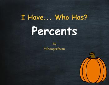 Fall Math: I Have, Who Has - Percents