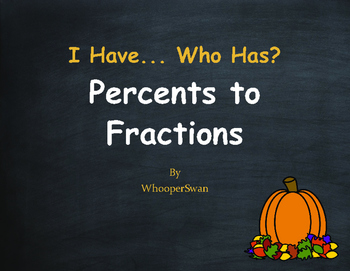 Fall Math: I Have, Who Has - Percents to Fractions