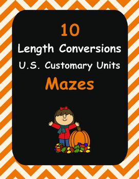 Fall Math: Length Conversions Maze - U.S. Customary Units