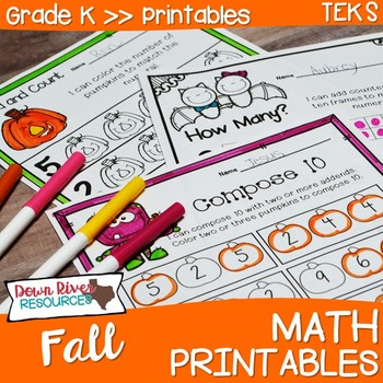 Kindergarten Fall Math No Prep Printables {TEKS/CCSS}