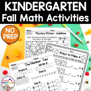 Fall Math Packet ~ Kindergarten ~ CC Aligned!