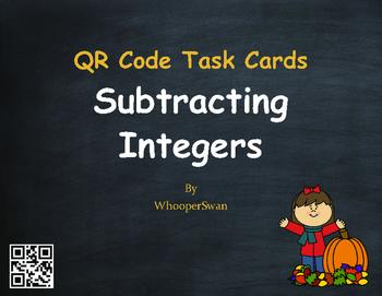 Fall Math: Subtracting Integers QR Code Task Cards