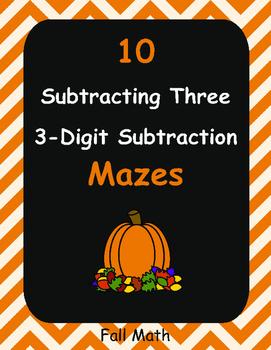 Fall Math: Subtracting Three 3-Digit Subtraction Maze