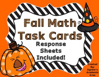 Fall Math Task Cards: Multiplication, Division, Factors, M