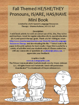 Fall Mini Book, Pronouns, Has/Have, Is/Are