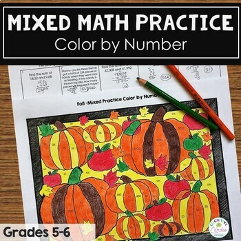 Fall Mixed Math Practice Color by Number