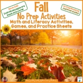 Fall No Prep Math and Literacy: Printables for Second Grade