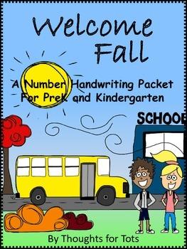 Fall Number Handwriting Packet, PreK and Kindergarten, Num