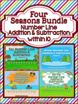 Number Line Addition & Subtraction Within 10 ~ Four Season