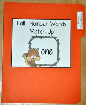 Fall Number Words Match Up File Folder Game