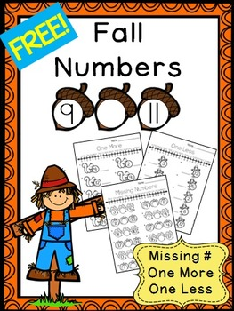 Fall Numbers 0 to 20 FREEBIE - Missing Numbers, One More,