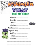 Fall Party Food Sign Up Sheet