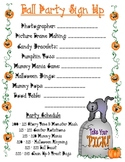 Fall Party Sign Up Sheet