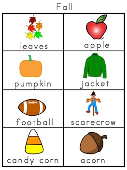 Fall Picture Word Bank and Picture Cards