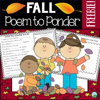Fall Poem to Ponder - Freebie!