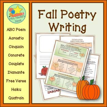 Fall Poetry Writing - Acrostic, Cinquain, Couplets, Diaman