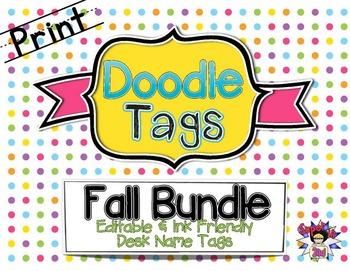 Fall Print Doodle Tags Bundle - Ink Friendly Editable Desk
