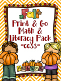 Fall Print & Go Math and Literacy Printables (CCSS) - FREE