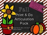 Fall Print and Go Articulation Pack Later Developing Sounds