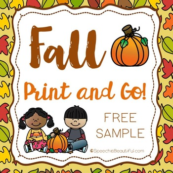 "Fall Print and Go Articulation ""S"" SOUND LEVEL PRINTABLE -"