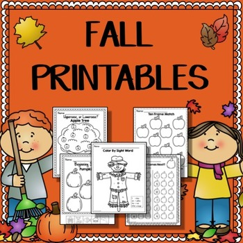 Fall Math & Literacy Printables