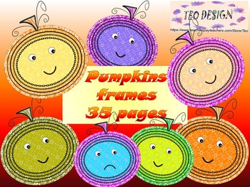Pumpkins - Fall - Clip Art - Frames - Writing paper