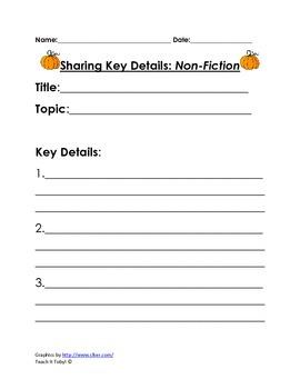 Fall Retelling / Sharing Key Details