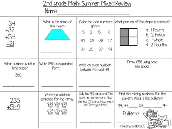 2nd Grade Math: Mixed Summer Review sample