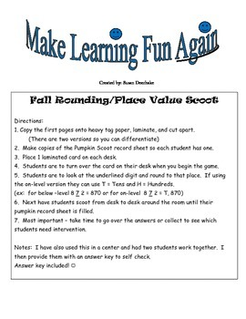 Fall Rounding/Place Value Scoot
