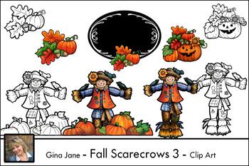 Fall Scarecrows { Gina Jane Clip Art }