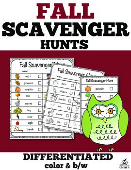 Fall Scavenger Hunt & Literacy Center (Differentiated)