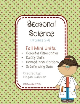Fall Science Mini Unit: BUNDLE PACK!  Bats, Spiders, Owls,