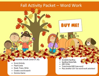 Fall Season - 15 words packet - 20 activities of word work